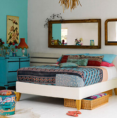 turquoise dresser and red lamp | by Hidden In France