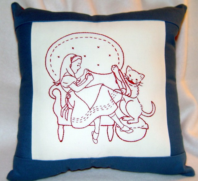 Alice in wonderland hand embroidered redwork pillow wit