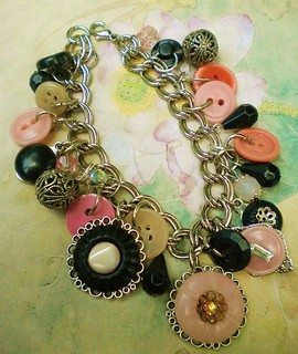 Recycled Vintage Antique Celluloid Glass Button Bracelet | by enamelowl