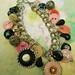 Recycled Vintage Antique Celluloid Glass Button Bracelet