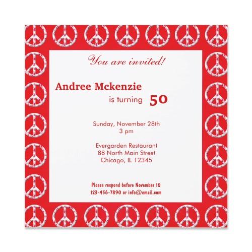 Peace Birthday Invitation