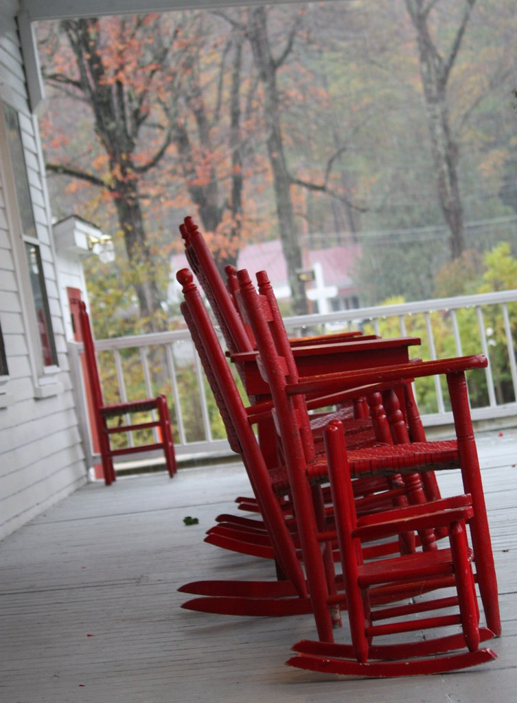 Red Rocking Chairs On Front Porch ~ Red chairs front porch at echo lake inn bearfont flickr