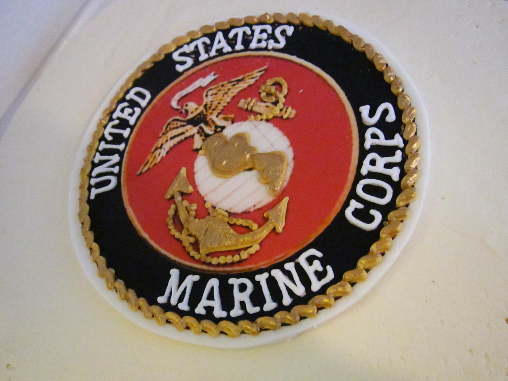 Enjoyable Marine Corps Birthday Cake Polkadots Olga Flickr Birthday Cards Printable Trancafe Filternl