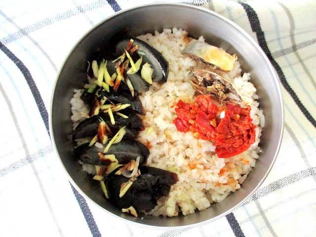 Nasi aduk ikan long with century egg
