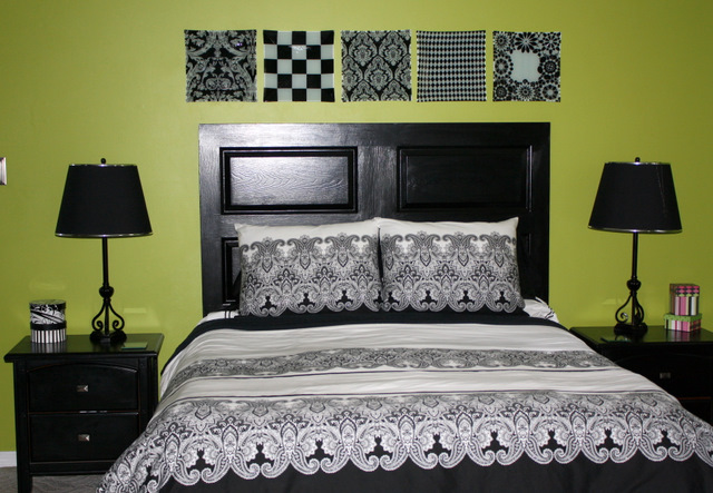 My $3.00 Black Door Headboard | Flickr - Photo Sharing!