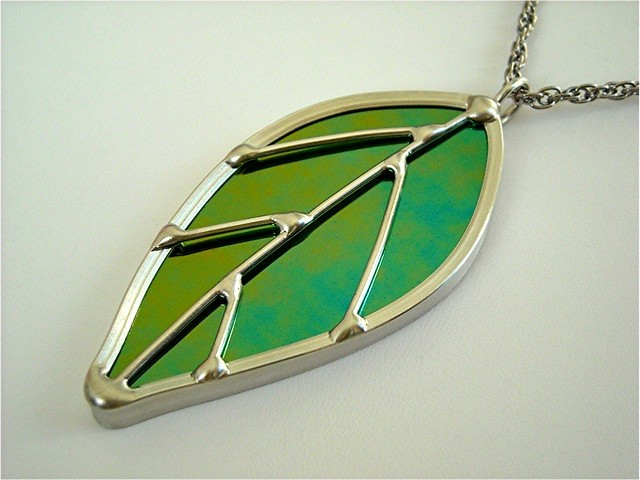Stained glass leaf pendant i crafted this pendant out of s flickr stained glass leaf pendant by jasglassart stained glass mozeypictures Choice Image