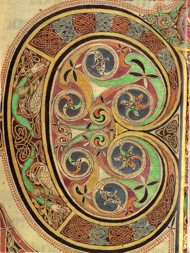 Lindisfarne Gospels-St Luke's Initial Page - spiral detail ...