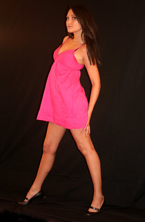 Sexy Beautiful Woman Model Pink Dress Black Heels and Backdrop | by PhotoAmateur1