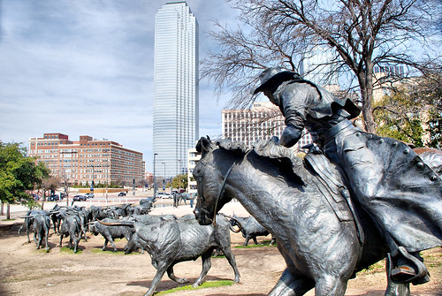 Cattle Drive Sculpture Dallas Texas Pioneer Plaza World's Largest Bronze Sculputure Cowboys Steer Longhorns Robert Summers Shawnee Trail Downtown Landmark Chaps Hat Spurs Stirrups Saddle DSC_1729x | by David Kozlowski
