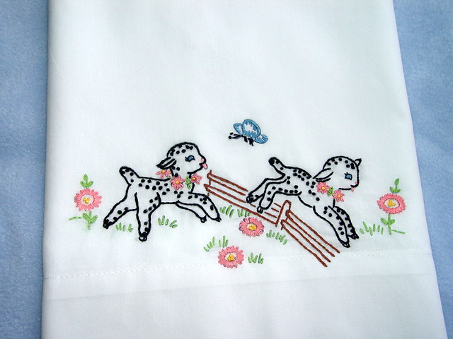 Counting Sheep Hand Embroidered Pillowcase With Vintage Flickr