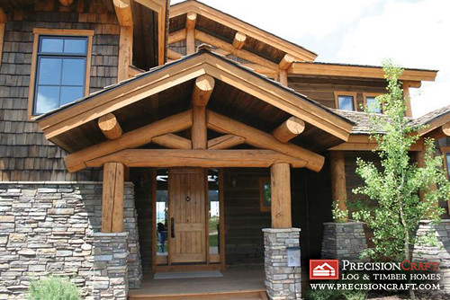 Post and beam log home log home entrance precisioncraf for 5 structural types of log homes