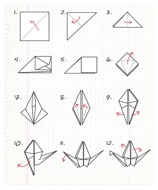 Origami crane step by step step by step for making for Crane folding instructions