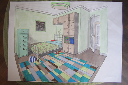 Freehand bedroom 2 point perspective lovely great for Bedroom 2 point perspective