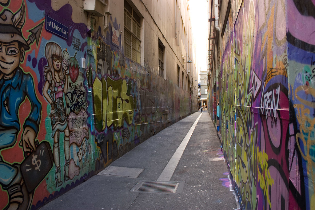 Legal Graffiti Wall Around Union Lane Melbourne Australia