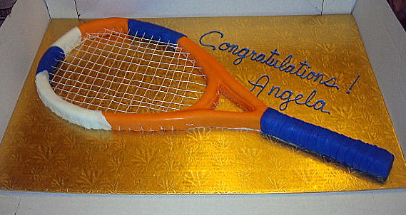 Tennis Racket Cake Racket Is On A Full Sheet Board And
