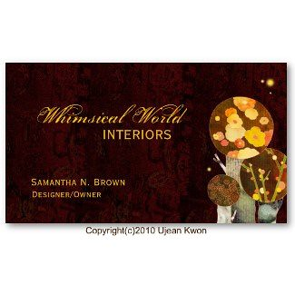 Whimsical Autumn Trees Interior Design Business Cards
