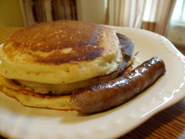 Sunday Morning Breakfast: Pancakes and Sausage