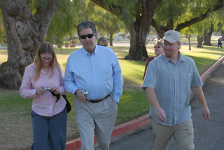 Faculty walking toward new library for tour | by California State University Channel Islands