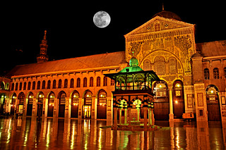 The Omayad Mosque and full moon | by Saad Al-Enezi