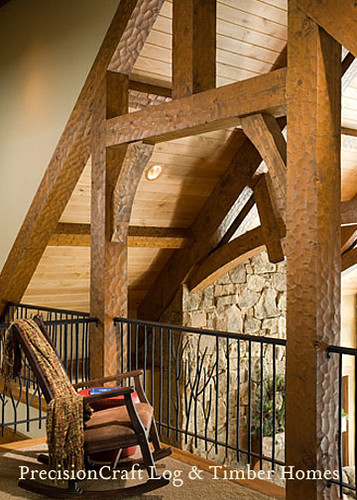 Loft framed by custom timber trusses timber frame interi for Custom a frame homes