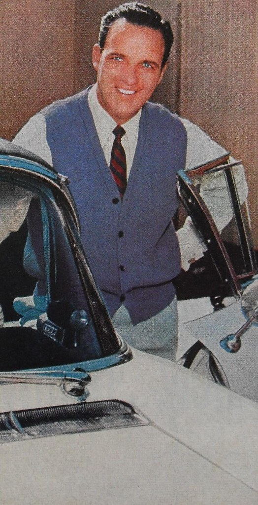 1950s Mens Clothing Ad Menswear Man In Blue Cardigan With