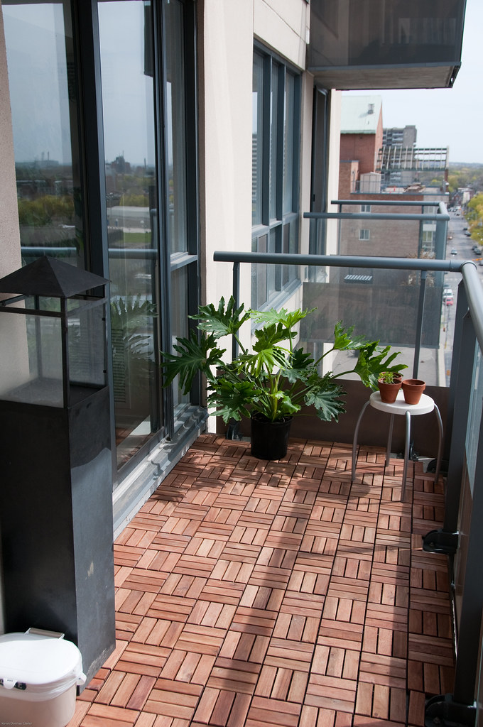 Balcony After (east) | Added IKEA Platta wooden deck tiles ...