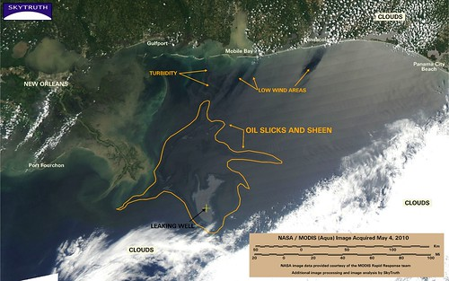 Deepwater Horizon Oil Spill - MODIS/Aqua Detail (with interpretation), May 4, 2010 | by SkyTruth