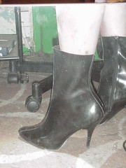 wearing my highheel rubber ankle boots  13  proof that