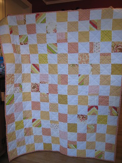 pink and yellow scrap quilt | by Leigh - leedle deedle quilts