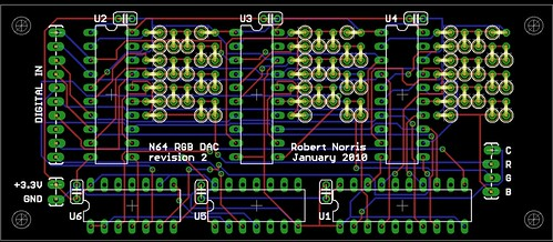 N64 RGB DAC rev2 - board layout | Board layout for the DAC d… | Flickr