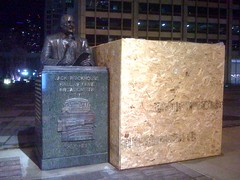 What's inside the mysterious six-foot tall box next to the Jack Brickhouse statue on Michigan Ave?