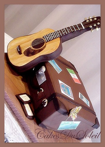 Suitcase and Guitar Groom's Cake