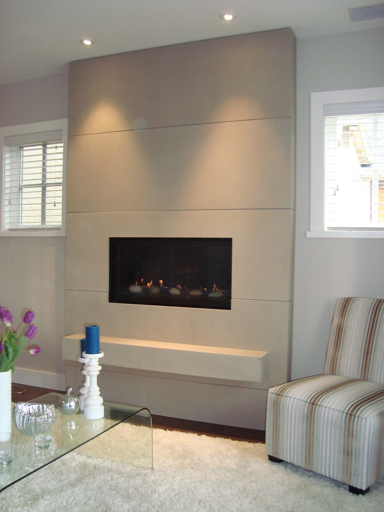 Concrete Tiled Surround With Floating Hearth Color Mist