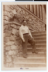 "Dutch"" Kastenbaum on the steps in front of the Chalet at Theodore Wirth Park 