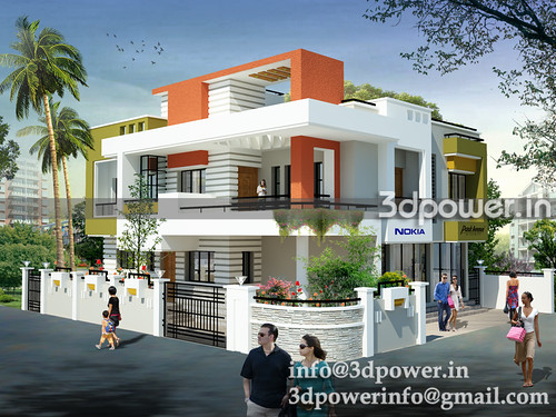 Front Elevation Designer In Jaipur : D image contempary bungalow modeling rendering