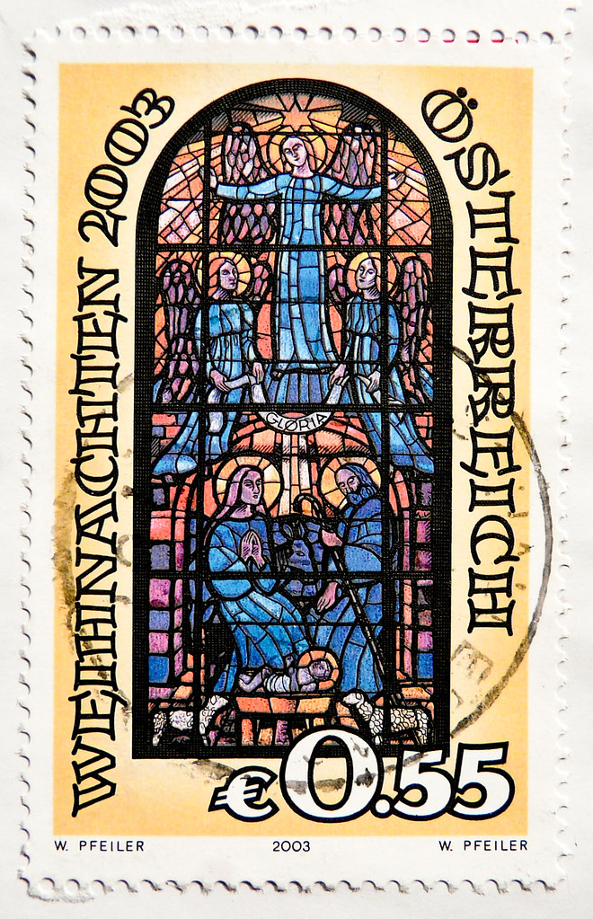 great xmas stamp Austria 55c € 0.55 (stained glass Church … | Flickr