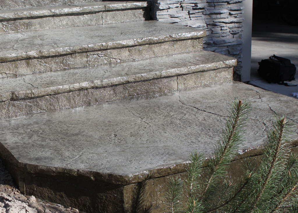 Seamless Stamped Concrete Steps And Landings With Rough Gr