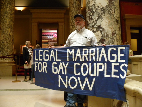 Gay marriage protester outside the Minnesota Senate chamber | by Fibonacci Blue