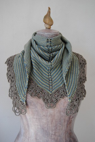 Crocheting Edges Of Knitting : Knitted shawl with crochet edging Knit shawl in three colo ...