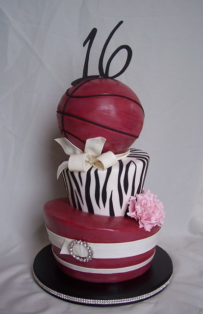 Sweet 16 Basketball And Zebra Stripe Birthday Cake Flickr