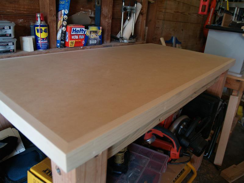 workbench top | Two layers of glued MDF with mitered ...