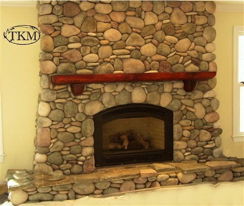 Round River Stone Fireplace