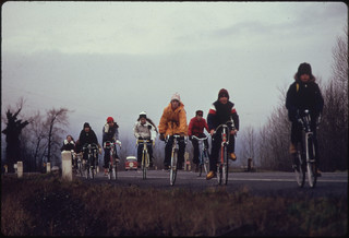School Children, Were Forced to Use Their Bicycles on Field Trips During the Fuel Crisis in the Winter of 1974. There Was Not Enough Gasoline for School Buses to Be Used for Extracurricular Activities, Even During Dark and Rainy Weather 02/1974 | by The U.S. National Archives