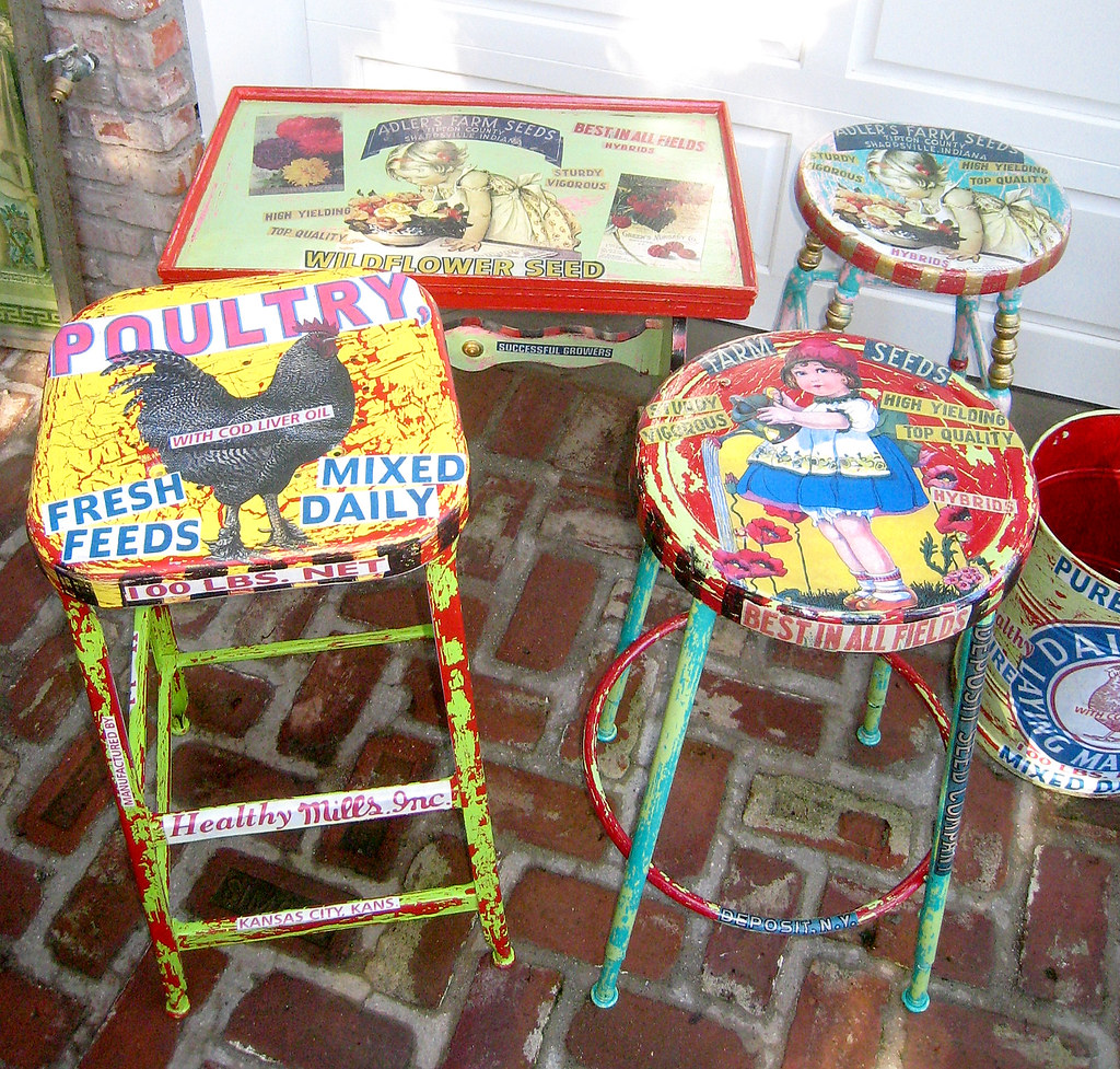 Fun Very Colorful Painted Decoupage Vintage Furniture