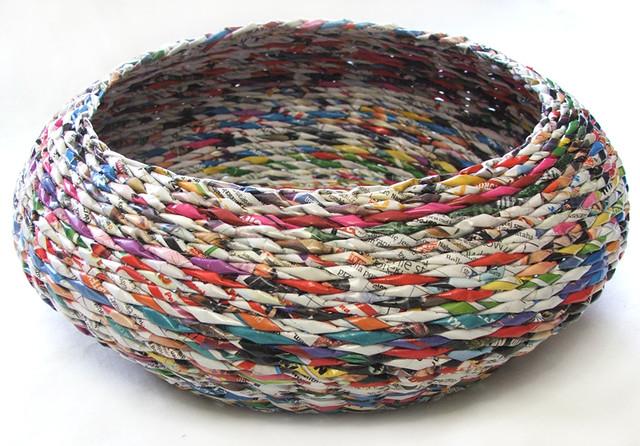 Newspaper basket magdalena godawa flickr for How to make a newspaper bowl