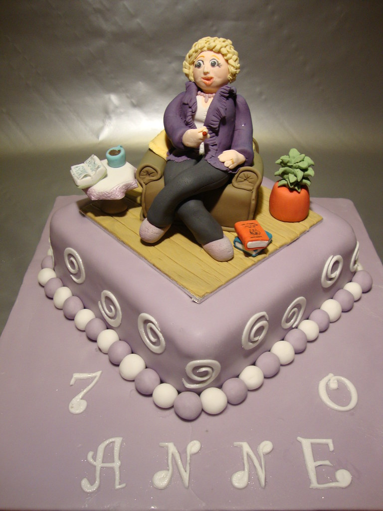 70th Birthday Cake With Woman In Armchair