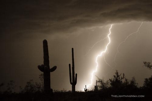 Lightning Strike In The High Desert Southwest Desert
