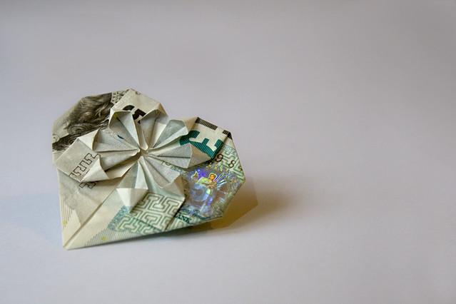 Money Origami Flower Heart Folded From One 5 Note Desi Flickr