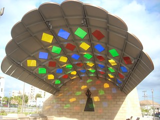 Scallop and stained glass canopy at Mariachi Plaza Gold Line station entrance | by LA Wad