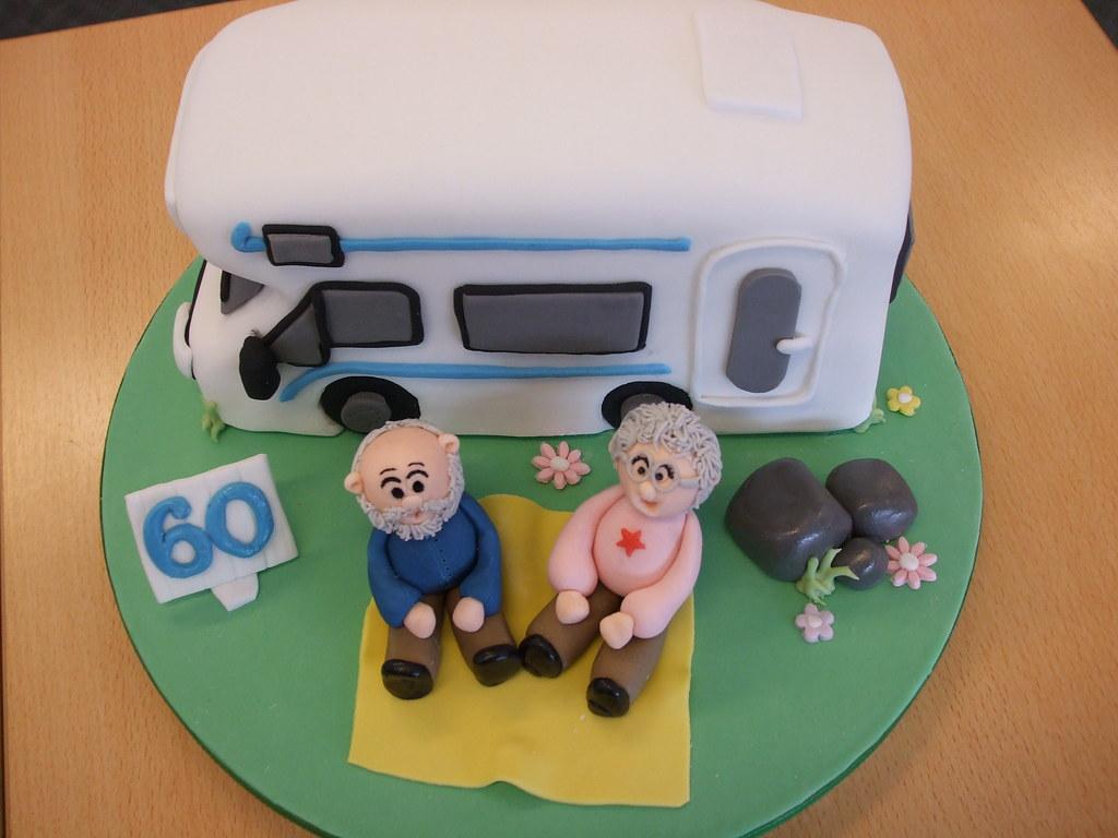 Popular Handmade Edible Fondant RV Camping Cake Topper Set